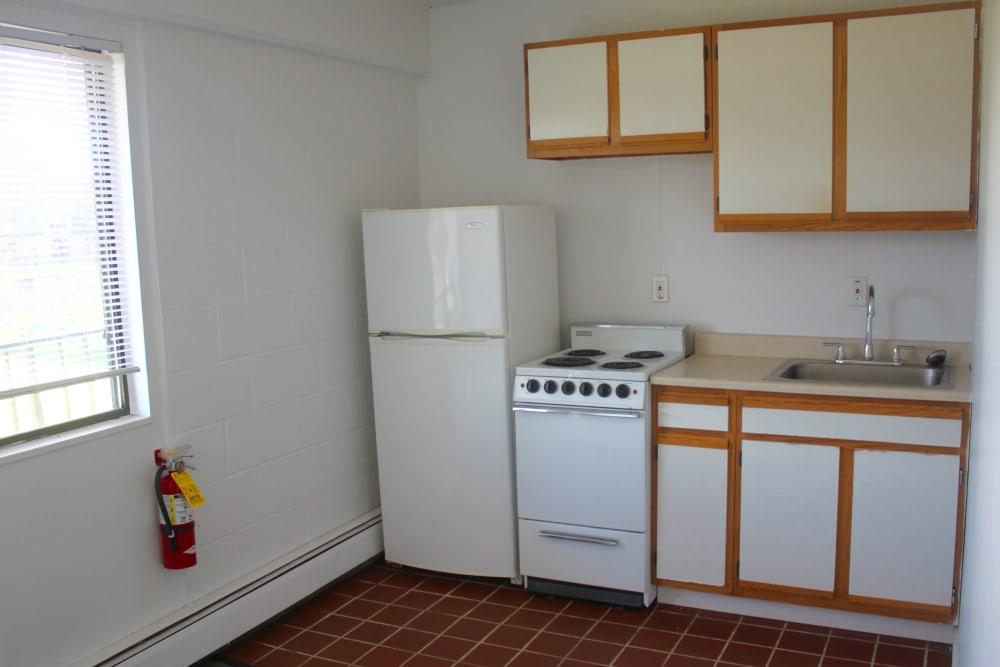 Sunlit kitchen at Campus Edge at Brigham