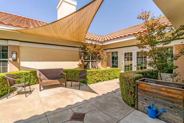 Beautiful interior patio at Westmont of Fresno in California