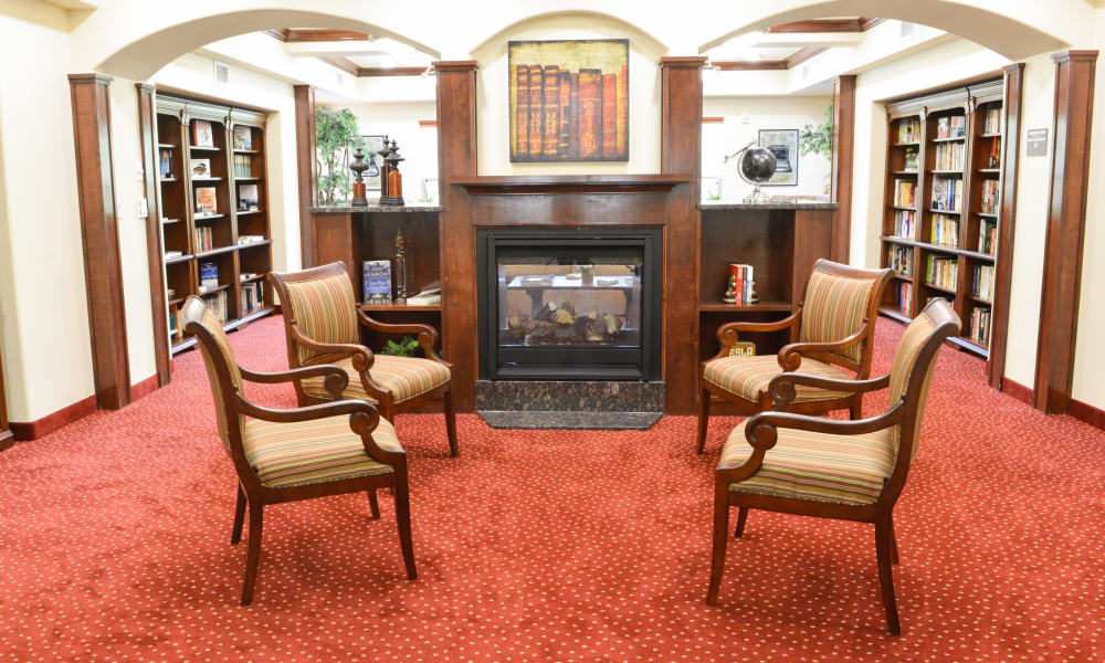 Fireside lounge at Carolina Estates in Greensboro, North Carolina