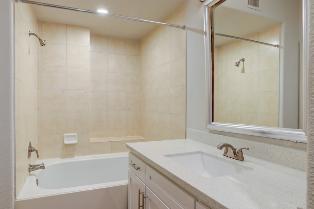 Remodeled Bathroom at San Paloma Apartments in Houston, Texas