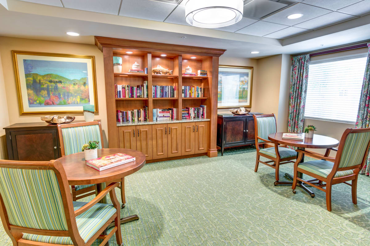 Activity room inside The Meridian at Boca Raton in Boca Raton, Florida