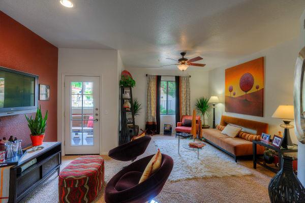 Spacious living room area at San Marbeya in Tempe, Arizona