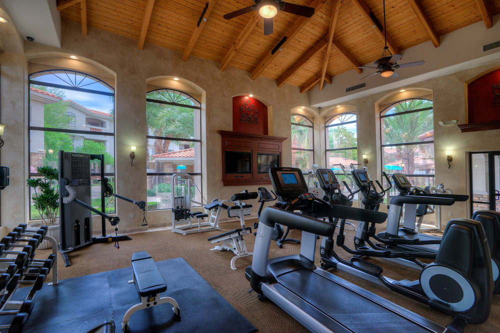 Contemporary fitness center at San Hacienda in Chandler, Arizona