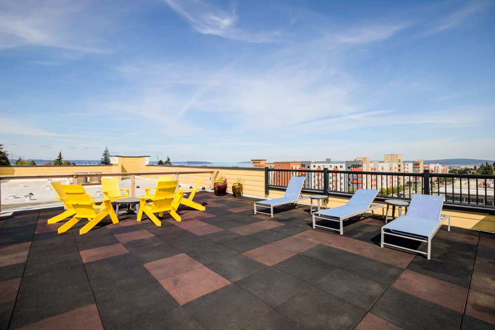 Rooftop seating for residents at Lumen Apartments in Everett, Washington