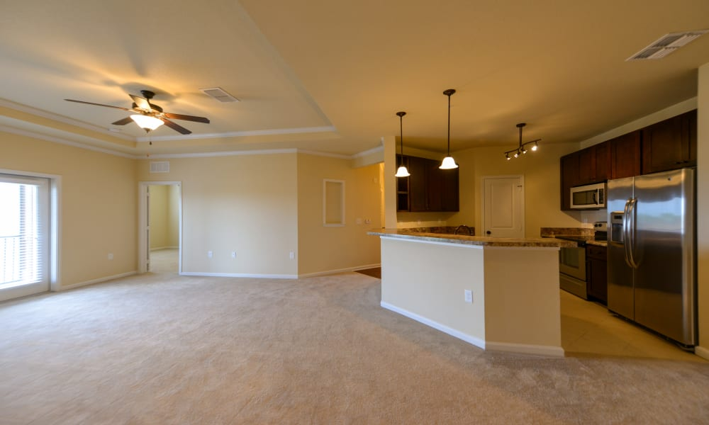 Open kitchen and living room ready for move in at Cabana Club and Galleria Club in Jacksonville, Florida