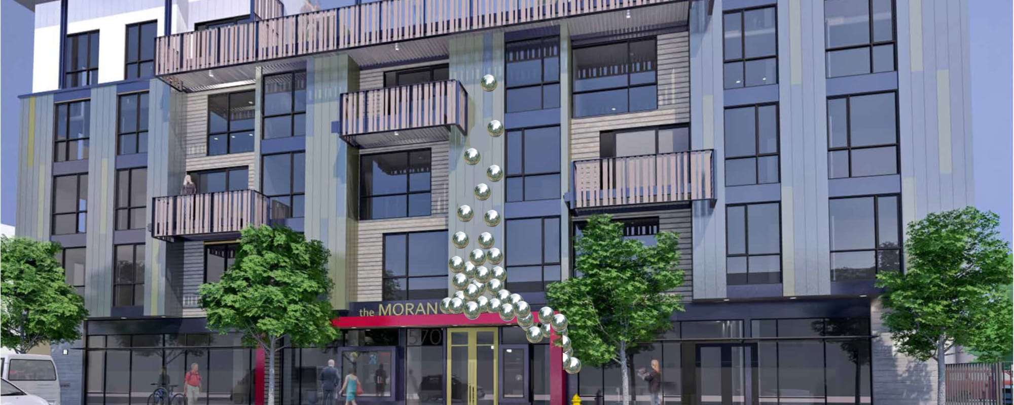 Exterior rendering of The Moran in Oakland, California