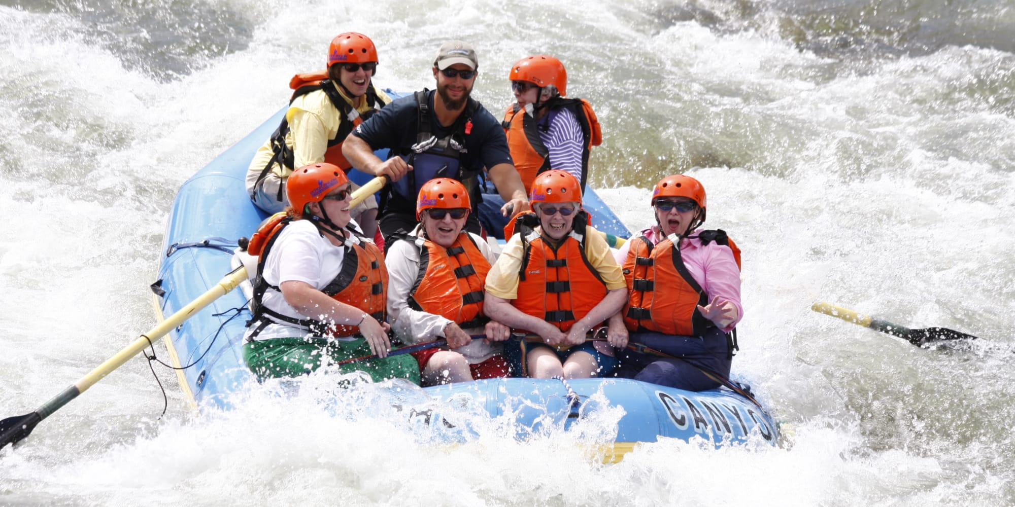 Residents from Summit Glen in Colorado Springs, Colorado white water rafting