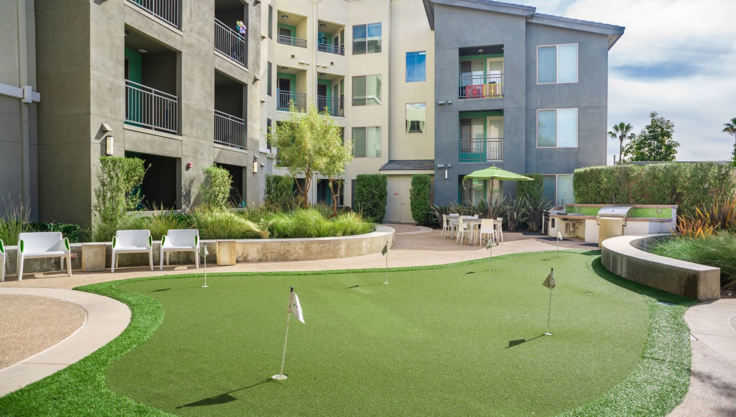 Mini putting green at Olympus Corsair in San Diego, California