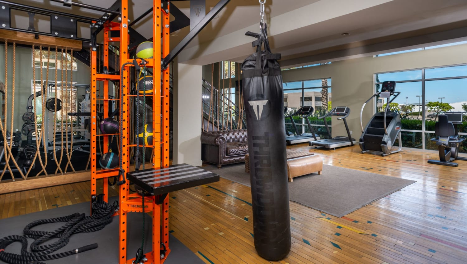 Punching bag in fitness club at Olympus Corsair in San Diego, California