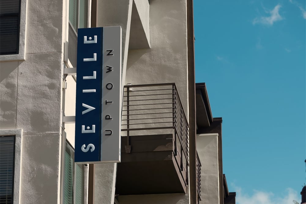 Outdoor sign for Seville Uptown in Dallas, Texas