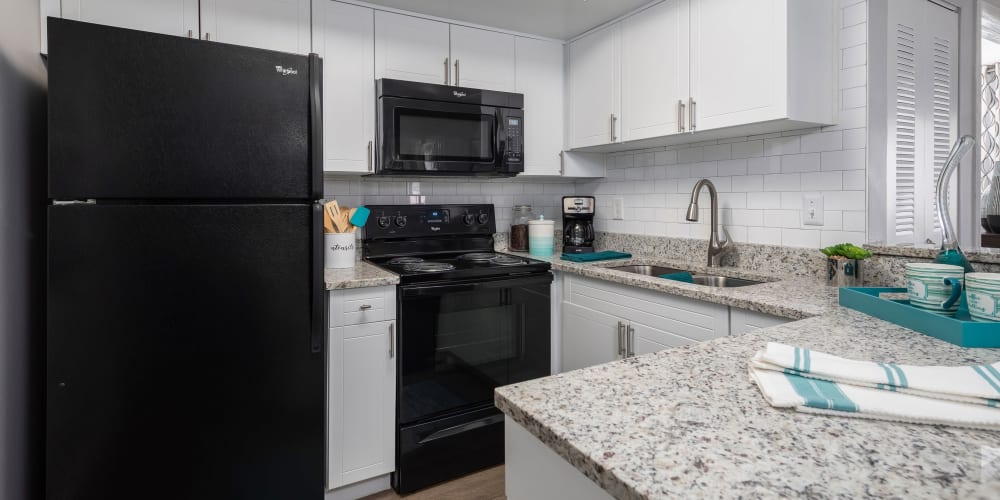 Granite countertop in a well lit kitchen at The EnV in Hollywood, Florida
