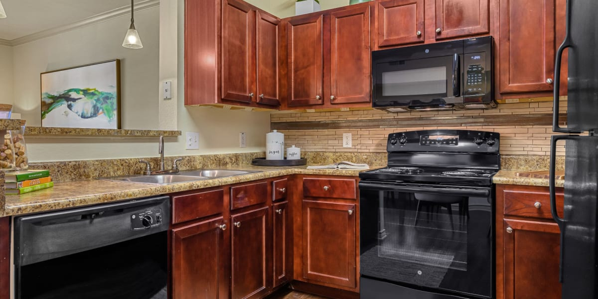 Kitchen with black appliances at Marquis Lakeline Station in Austin, Texas