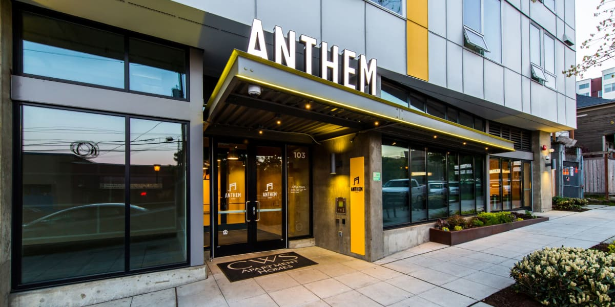 Street view of the entrance to Anthem on 12th in Seattle, Washington