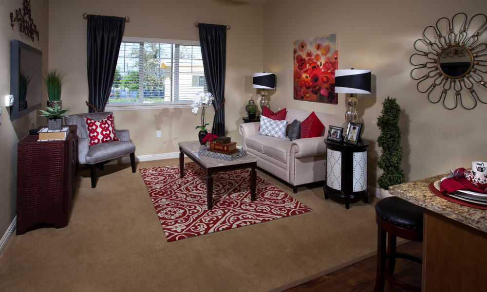 Living space at Estancia Del Sol in Corona, California