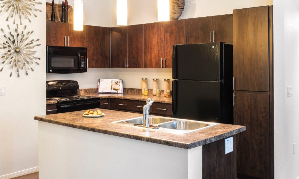 Well-equipped kitchen at Elevation Apartments