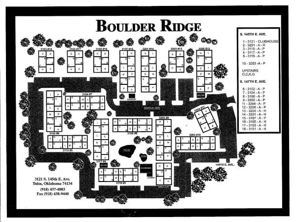 Site map for Boulder Ridge in Tulsa, Oklahoma