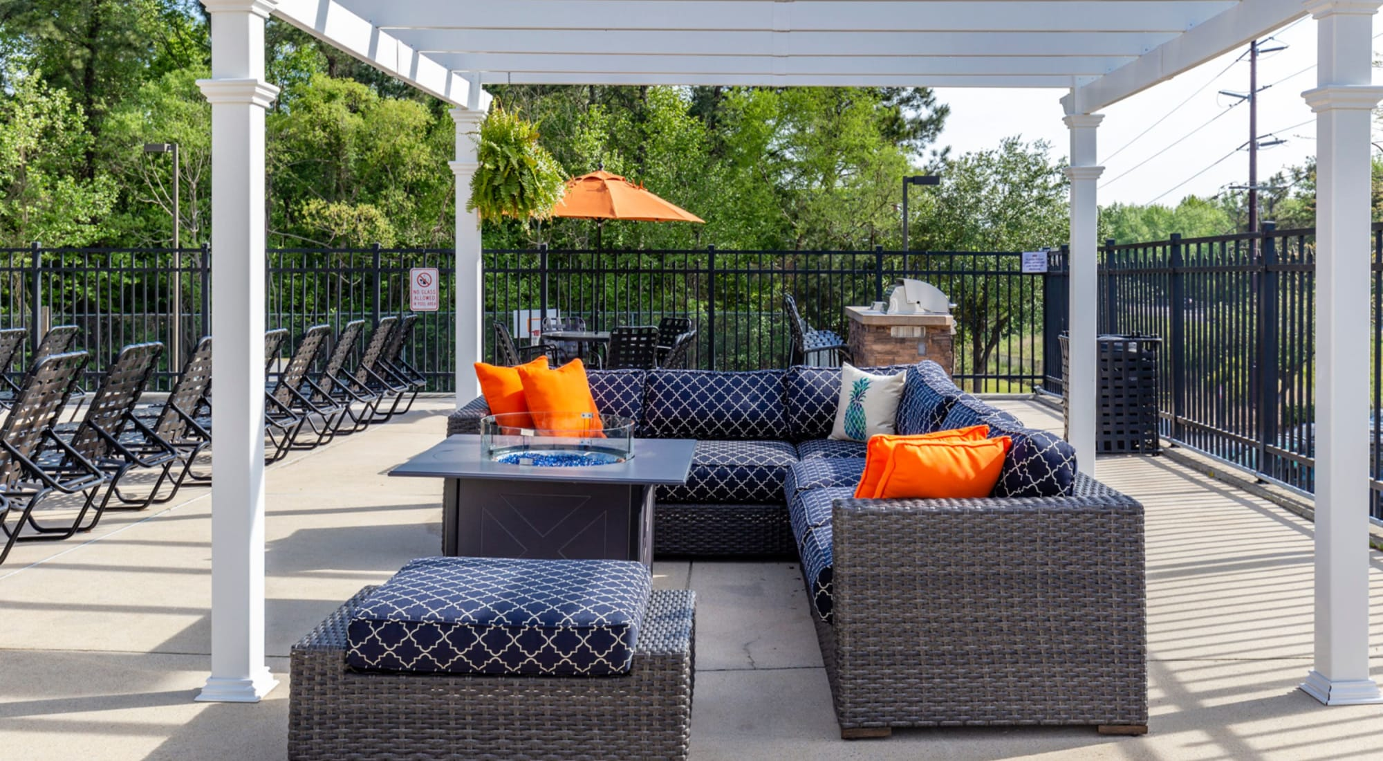 Outdoor fire pit at Sunchase Apartments