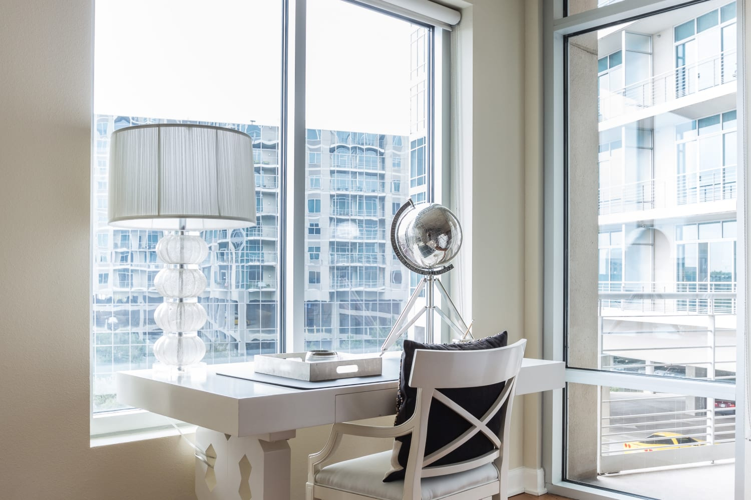 Office nook with a view at The Heights at Park Lane in Dallas, Texas