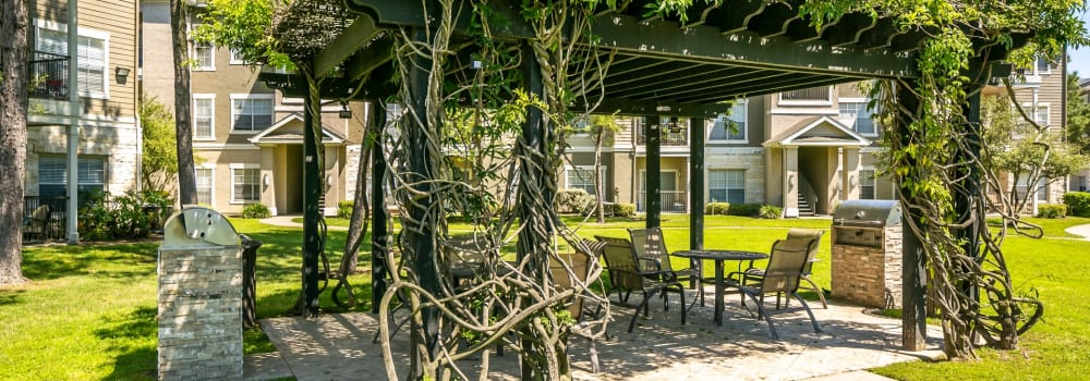A beautifully covered picnic area at The Fuse at Park Row in Houston, Texas