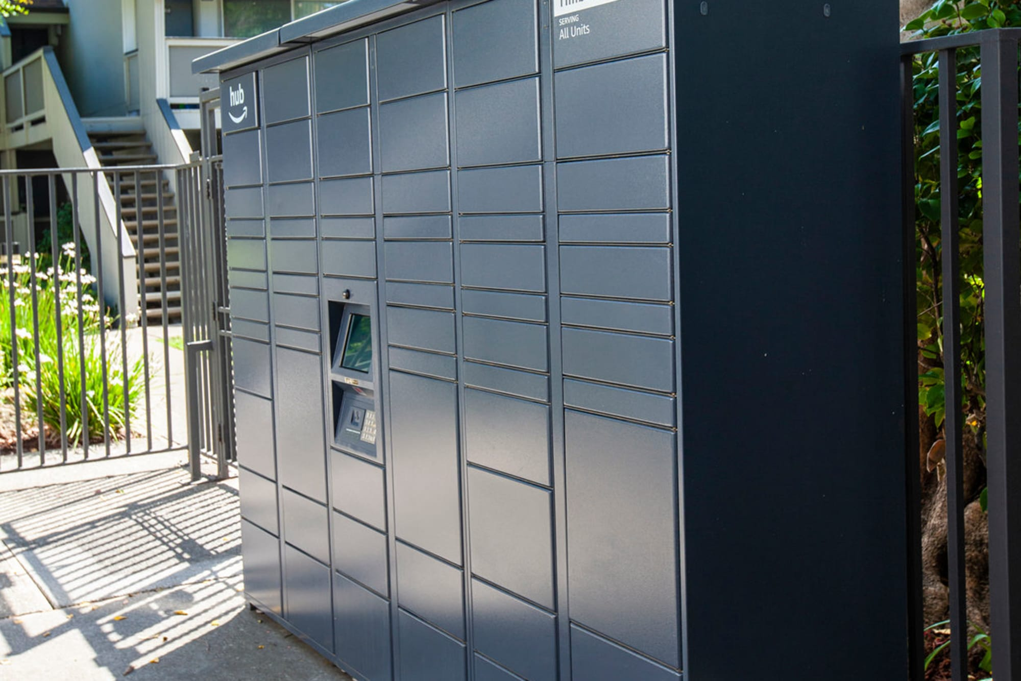 24-hour package locker system with Amazon HUB at The Timbers Apartments in Hayward, California