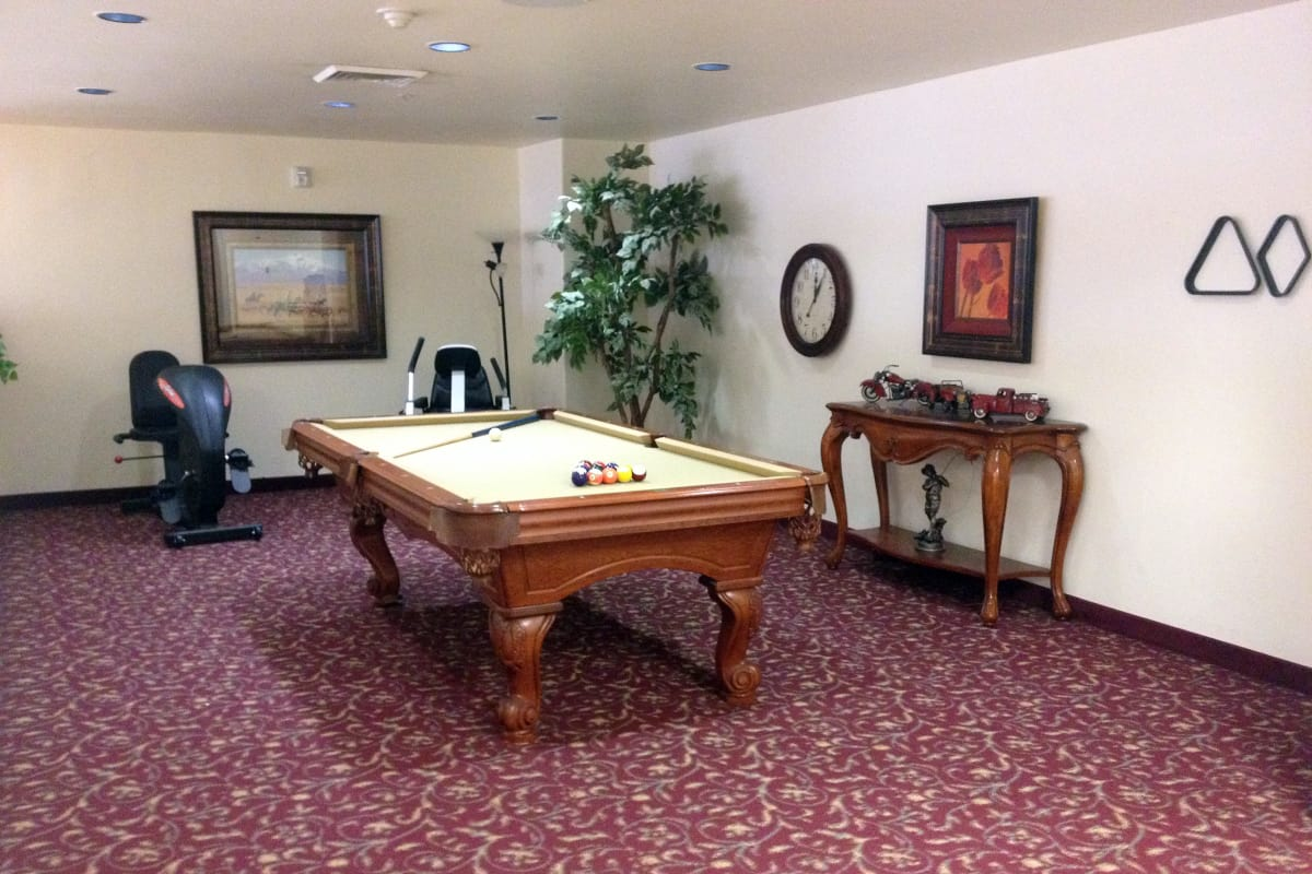 The game room at Palms at Bonaventure Assisted Living in Ventura, California