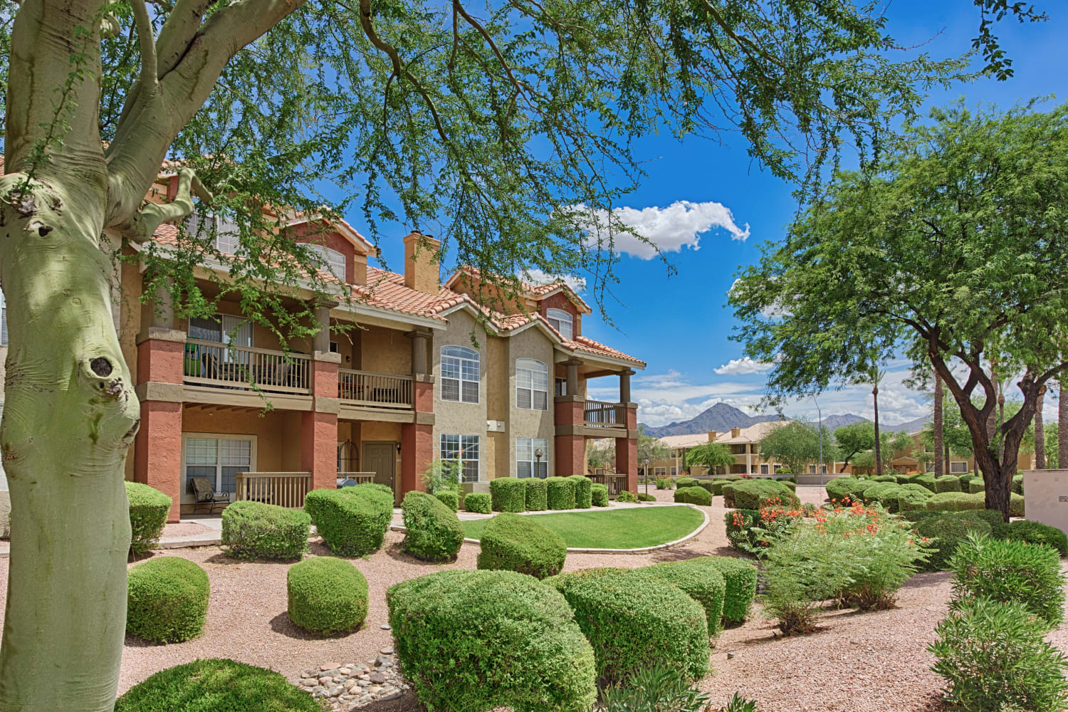 Manicured grounds at Sonoran Vista Apartments in Scottsdale, Arizona