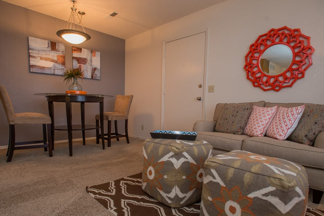 Living room at Tammaron Village Apartments in Oklahoma City, Oklahoma