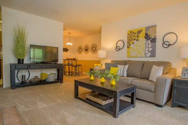 Spacious living room at Cedar Glade Apartments in Tulsa, Oklahoma