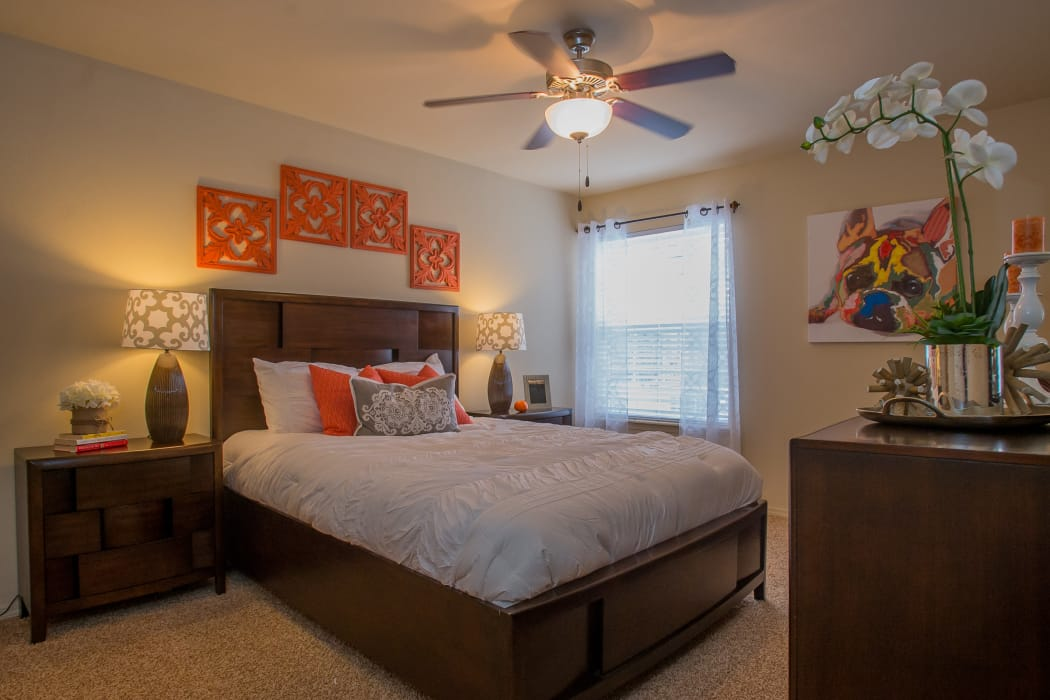 Beautifully decorated bedroom at Park at Mission Hills in Broken Arrow, Oklahoma