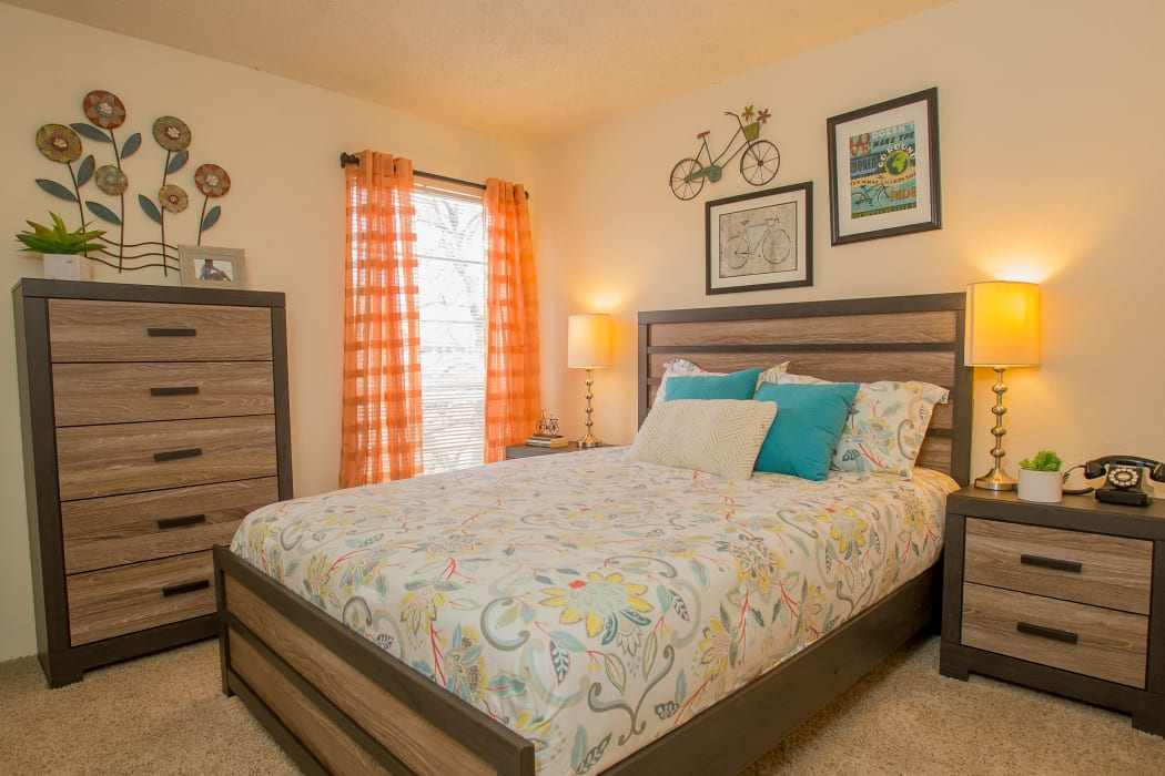 An apartment bedroom at Country Hollow in Tulsa, Oklahoma