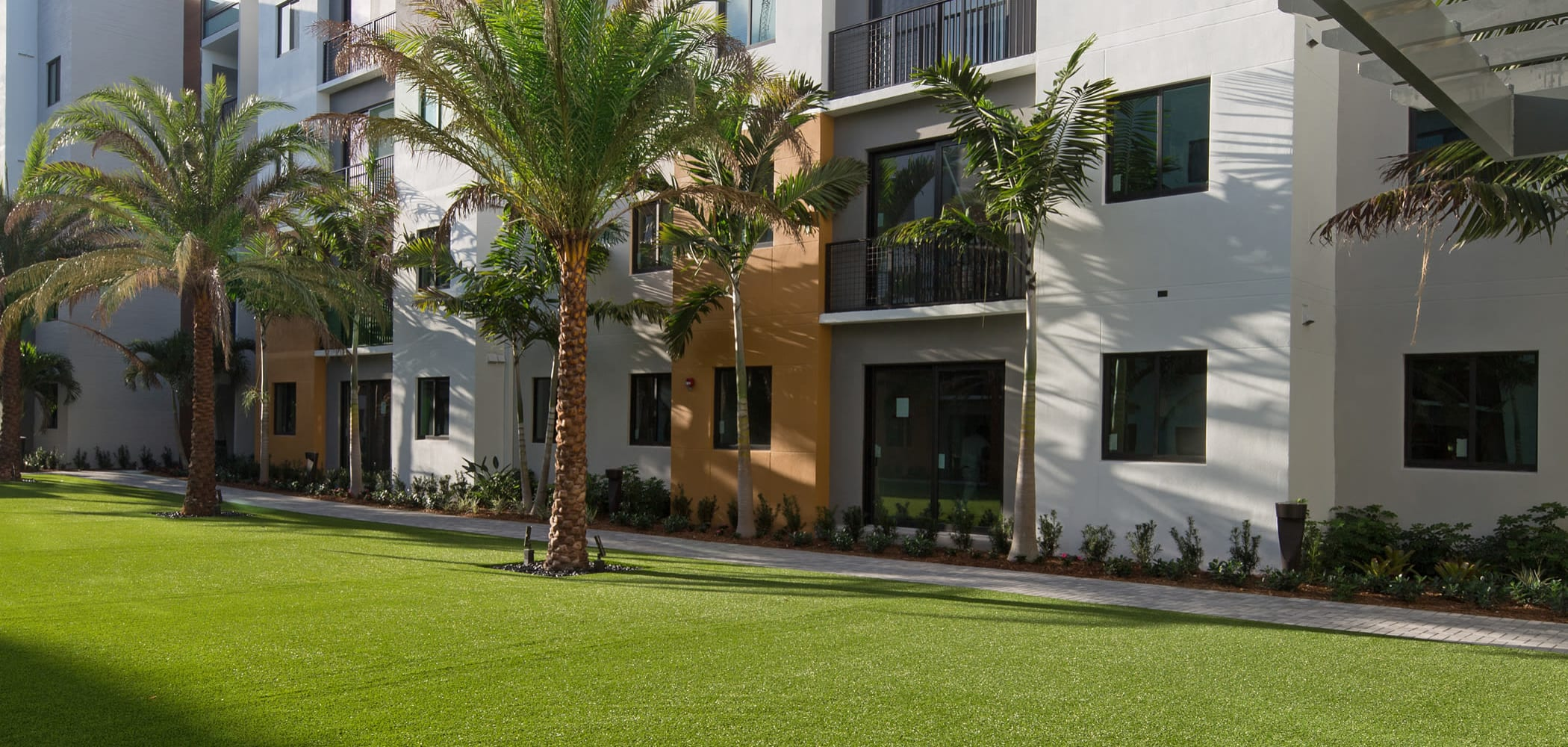 Beautiful lawn for people to walk on at University Park in Boca Raton, Florida