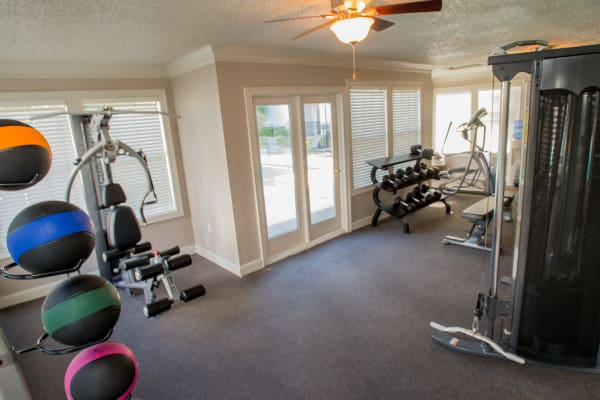 Spacious fitness center at Cedar Glade Apartments in Tulsa, Oklahoma