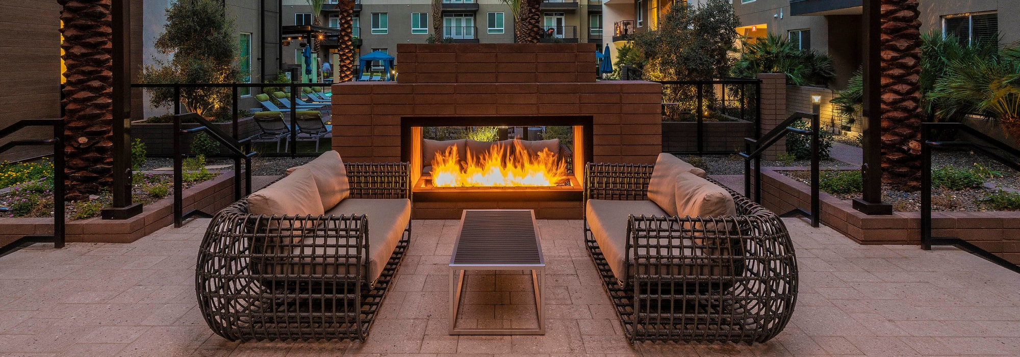 Fire pit in the evening at Carter in Scottsdale, Arizona