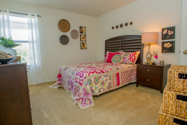 Cozy bedroom at Cedar Glade Apartments in Tulsa, Oklahoma