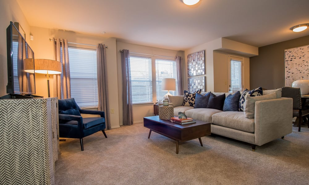 Spacious, bright living room with plush carpeting at Watercress Apartments in Maize, Kansas
