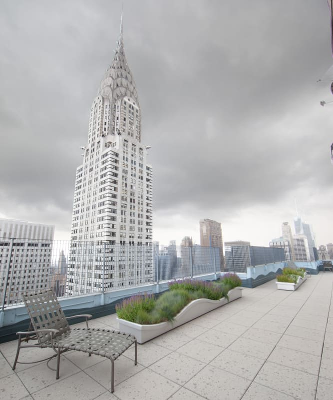 A large rooftop patio at The Metropolis in New York, New York