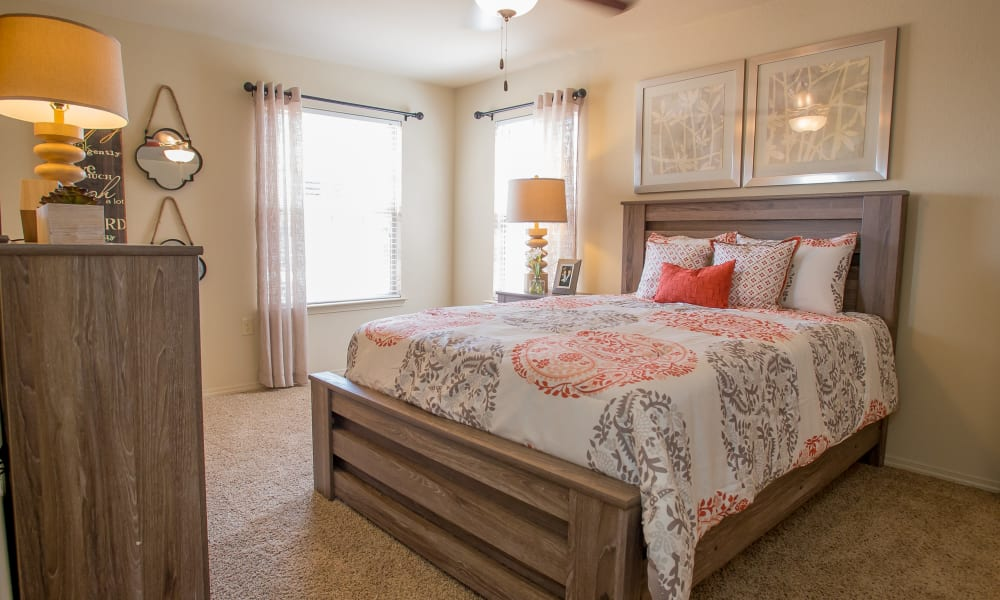 Cozy bedroom at Mission Point Apartments in Moore, Oklahoma