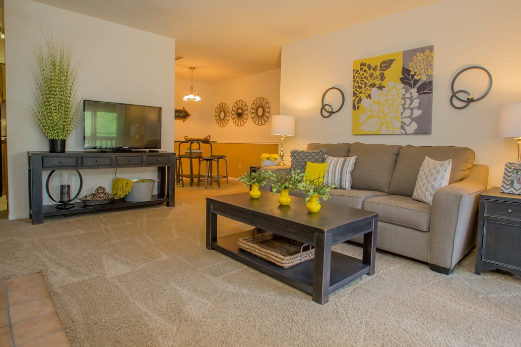 Wonderful living room at Cedar Glade Apartments in Tulsa, Oklahoma