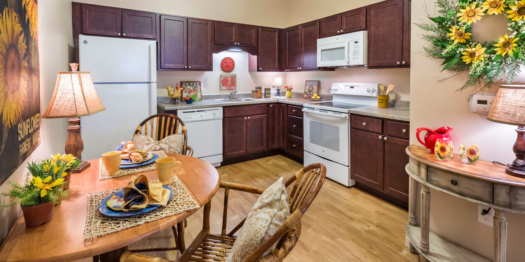Resident kitchen at Keystone Place at Forevergreen in North Liberty, Iowa.