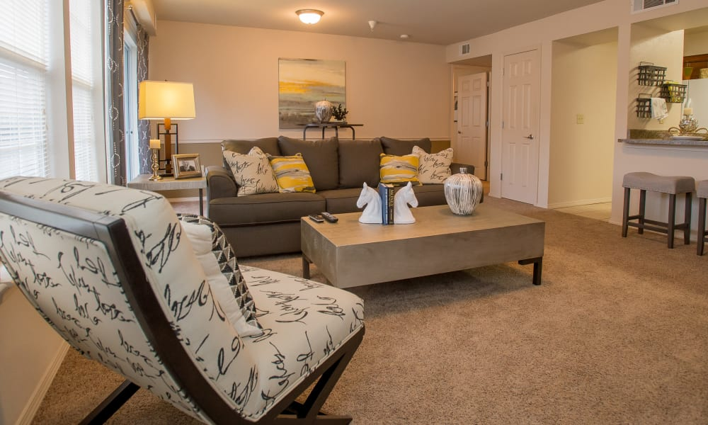 Spacious living room at Villas of Waterford Apartments in Wichita, Kansas