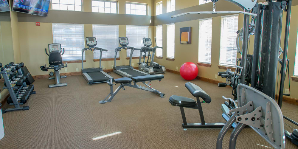 Fully equipped fitness center at Mission Point Apartments in Moore, Oklahoma