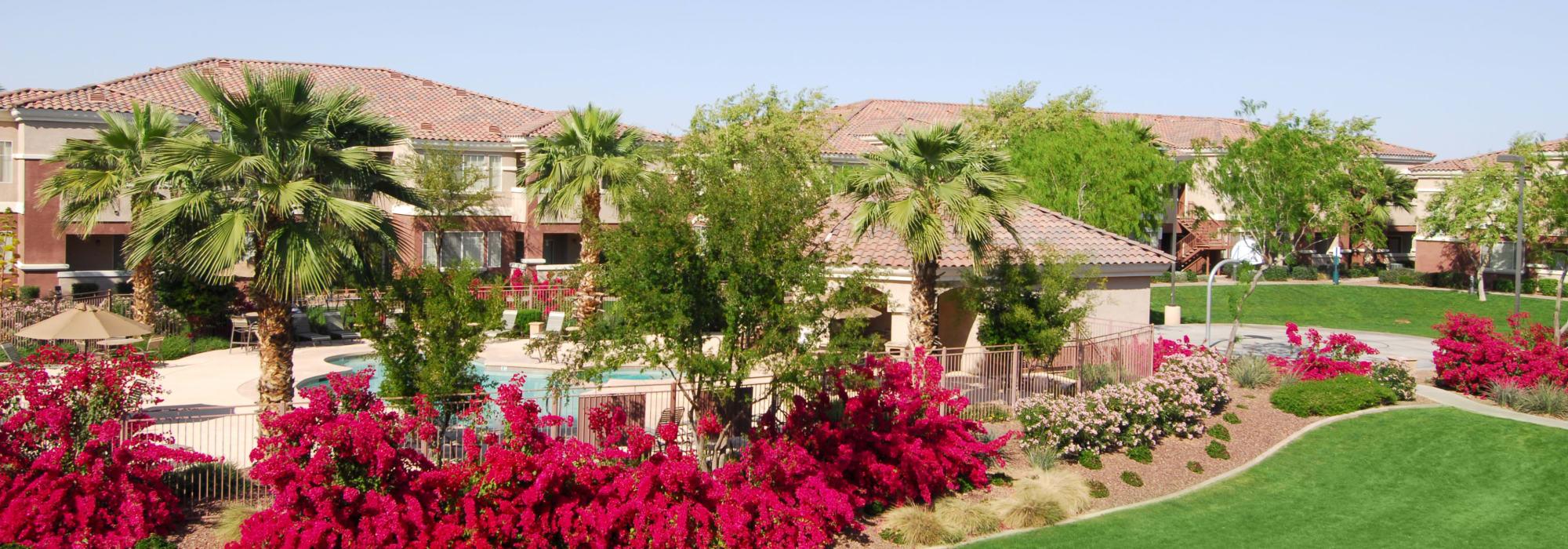 Beautiful landscaping surrounds Remington Ranch in Litchfield Park, Arizona