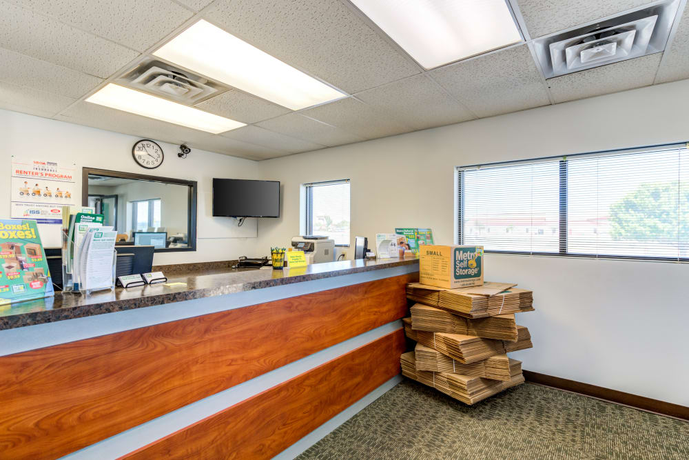 Leasing office reception at Metro Self Storage in Plainview, Texas
