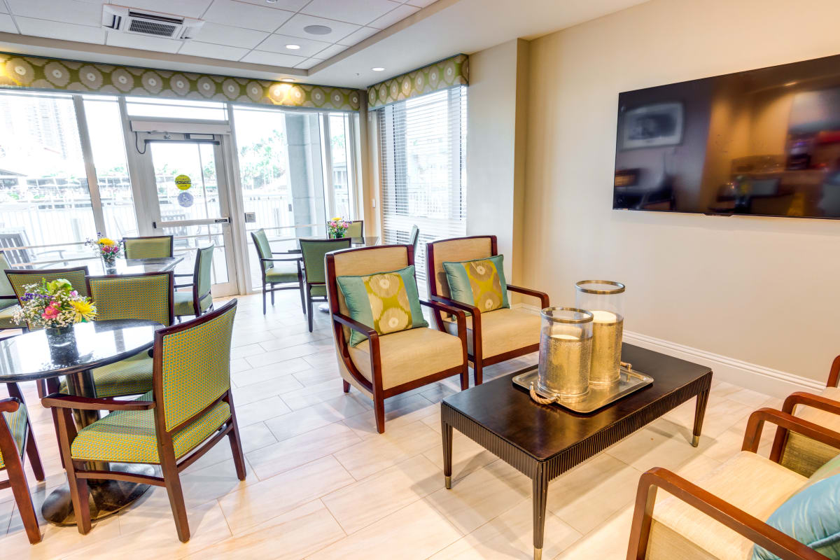 Activity room inside The Meridian at Waterways in Fort Lauderdale, Florida