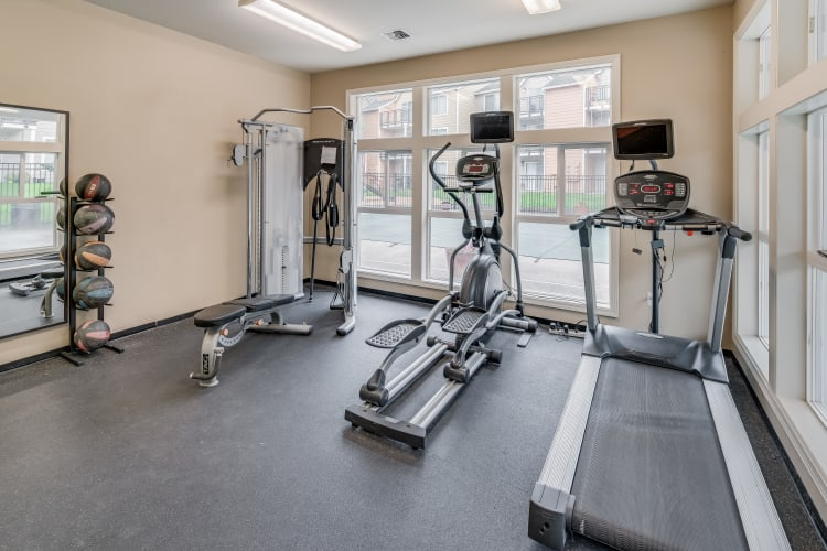 Fitness center at Preserve at Sunnyside Apartments