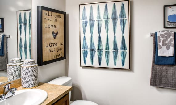 Example bathroom at apartments in Portland