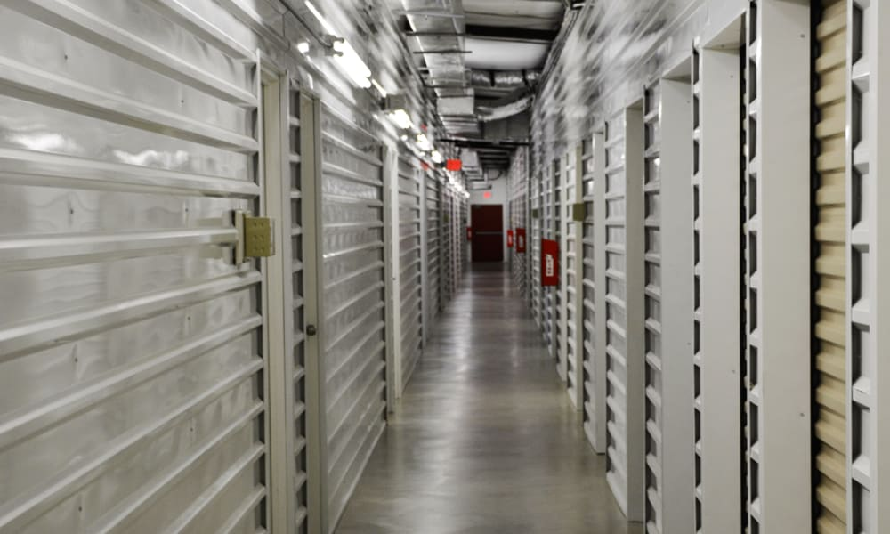 Indoor storage units at AAA Alliance Self Storage in San Antonio, Texas