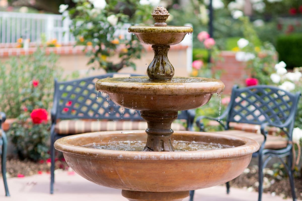 A fountain in the garden at Gables of Ojai in Ojai, California