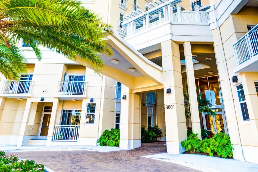 Main entrance to The Meridian at Waterways in Fort Lauderdale, Florida