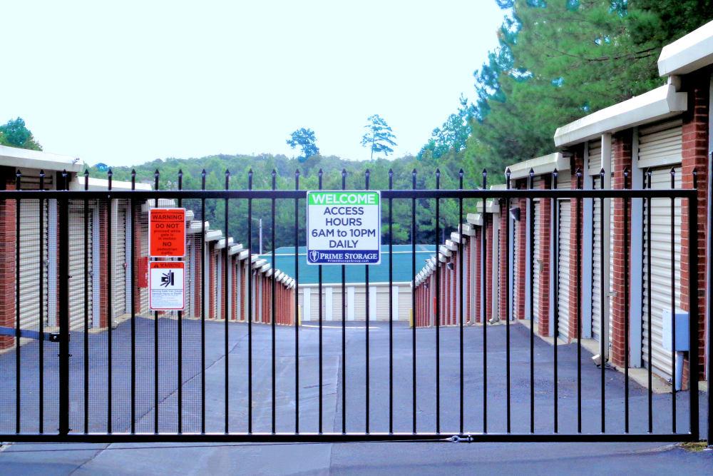 Security gate at Prime Storage in Dallas, Georgia